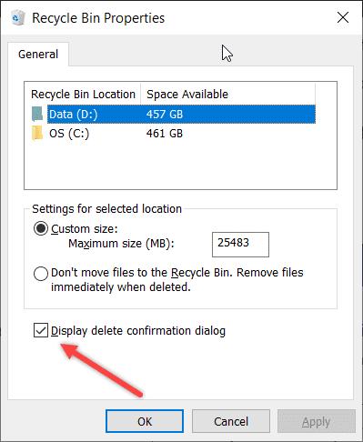 Delete Confirmation Windows 10