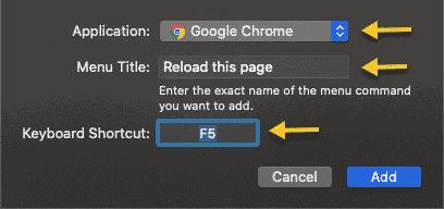 F5 shortcut to refresh chrome