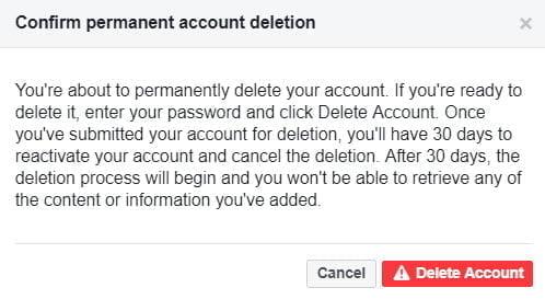 Delete Facebook Account Confirmation